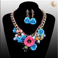 Wholesale HOT SALE Costume luxury Jewelry Sets fashion women Necklace Earrings amp shourouk Bohemia Necklaces xl0159