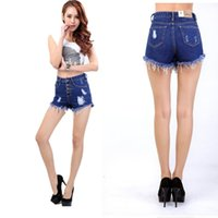 Cheap Ripped jeans women 2015 Fashion trends rough selvedge cotton denim jeans shorts High waist slim buttock hot pants shorts female