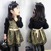 bay boat - Han edition children in qiu dong gold lace lace bay princess dress dress WeChat girls dress is ZJ1353