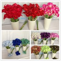 Wholesale 35CM Real Touch Latex Wedding Bouquets Artificial Simulation Calla Lily Wedding Flowers DecorationPU calla lily