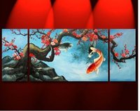 Cheap High quality modern abstract oil painting art ---- Carp and Red Plum