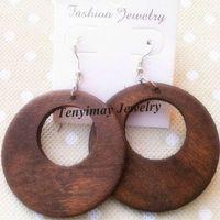 Wholesale 50mm Hollow Wooden Earrings Bohemian Drop Earrings Pairs