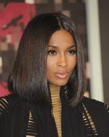 Miradas del estilo del pelo España-2016 Premier nuevo diseñado asequible natural mirando el pelo humano parte media Ciara estilo largo Bob encaje frente pelucas para las mujeres negras