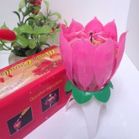Wholesale Happy Birthday Automatically Blossom Rotating Musical Scented Sparkling Lotus Flower Paraffin Wax Candles A