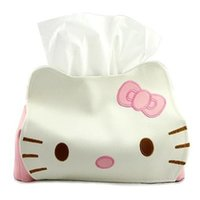 Wholesale Hello Kitty PU Leather Tissue Extraction Tissue Box Table Decoration Tissue Pumping Xmas Gift Towel Napkin Papers BAG Holder