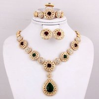 Cheap Hot Selling Green Red Rhinestone Bridal Wedding Costume High Quality African Fashion Gold Plated Crystal Women Jewelry Sets