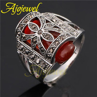 Wholesale FG Vintage stone rings red green black k white gold plated retro artificial gemstone rings for women