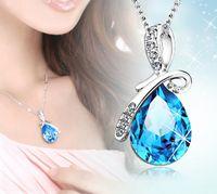 Wholesale 2016 New Fashion White Gold Diamond and Blue Topaz Tear Drop Pear Necklace Pendant Chain ya