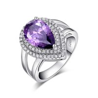 big heart rings - Big Luxury Water Drop ct Amethyst Zircon Ring Prong Setting with Mirco CZ Stone Around Sterling Silver Ring OR36