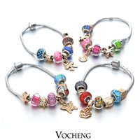 Cheap Mix 10pcs lot golden & Crystal Charm Bracelet for Women With Mix colors Murano Glass Beads DIY Jewelry (Vb-076) Vocheng Jewelry