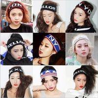 bandanas - 2015 Color women Stretch new york Headband Sports Yoga hair band Sweat Head Wrap Unisex Vogue Bandanas turban headdress TOB3258