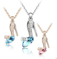 jewellery - cinderella crystal shoes jewellery necklaces pendants trendy gold silver plated Austrian crystals Jewelry for women girls gift