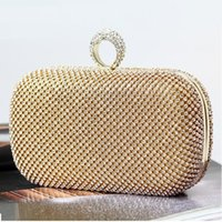 Wholesale Gold Evening Bags Diamond Luxury Party Clutch Ring for Girls Wedding Bridal Bling Handbags Women Purse Shoulder Bag A63