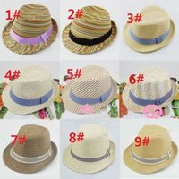 band sunshine - Sunshine boy cool Mix style Children Summer Fedora Hats with bands Kids Jazz Caps Baby Straw Fedora hats