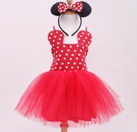 Spring / Autumn band clothing lines - 2016 Girl Minnie Dress Child Kids Dot Red Gauze Fashion Cute Clothes with Hair band Y