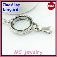 Wholesale silver with stone magnet open zinc alloy lanyard floating charm locket