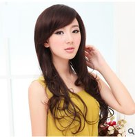 Wholesale High simulation Ms wig volume fluffy long curly hair oblique bangs girls big wave simulation long hair slightly curled jiafa Authentic