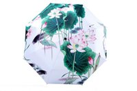 Wholesale Plants And Flowers Pattern Triple Folding Parasol Custom Umbrella