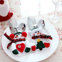 Wholesale New Christmas Stylish Christmas Snowman Tableware Bags Set Novelty Christmas Decorations Supplies freeshipping best quality