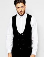 Wholesale Slim Half Moon Shape Waistcoat in Velvet Custom Made vest for Man s clothes Business Waistcoat And Suit Vest
