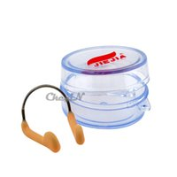 Wholesale Metal Skeleton Soft Silicone Swimming Nose Clip Clamp with Box BJ001P X56P