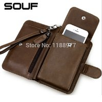 Wholesale 2015 Multifunctional SOUF men s wallet cowhide Genuine leather mobile phone wallet purse