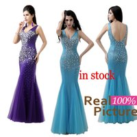dress dubai - 100 REAL IMAGE Crystal Prom Party Dresses with Backless Mermaid V Neck Beaded Formal Evening Gown Dresses for Pageant Arabic Dubai