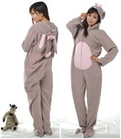 adult footed onesie - Winter Spring Polar Fleece Women Men Ladies Adult Unisex Footed Onesie Gray Rabbit Pajamas Hooded Jumpsuits Romper Sleepwear S L