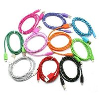Wholesale 1M M M Fabric Braided Nylon Sync Cloth Woven Universal Micro USB Cable Cord Extra Long Extension For Samsung HTC Colors Data Cable