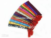 Wholesale Unique Chopsticks Packaging Bags Bunk High Quality Silk brocade Printed Chinese style Tassel Pouches mix color Free