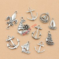 anchors for boats - 100Pcs Mixed Tibetan Silver Plated Boat Ship Anchor Charms Pendants for Jewelry Making DIY Craft Accessories