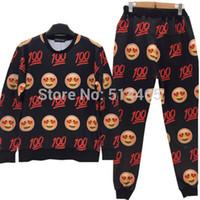Cheap emoji Smiling printed sweat suit tracksuit for men women girl boy sport joggers&sweatshirt pants set outfit cartoon clothing
