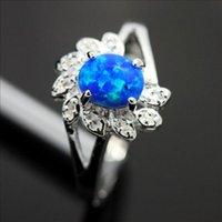 achat en gros de cadeaux gros anniversaire-Crystal Blue gros anneau charme européen 925 en argent sterling Joaillerie Anneaux pour les femmes de cadeau d'anniversaire d'anniversaire de mariage