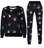 Wholesale Mickey Print Emoji Jogging Sweatshirt Hoodies Cartoon Pattern Joggers Pants Trousers Sports Suits Tracksuits for Women Men