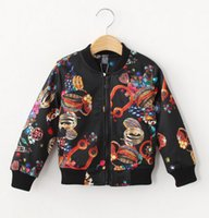 american baseball kid - Girls Coat Fashion Printed Baseball Jackets For Europe and America Kids Long Sleeve Stand Collar Children Casual Outerwear Age K694