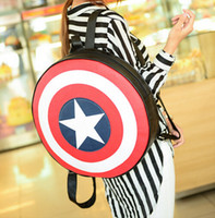Wholesale 2016 New fashion European and American Captain America Shield backpack preppy style students backpack circle school bag