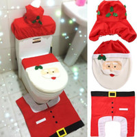 Wholesale New Hot Happy Pieces Santa Toilet Seat Cover And Rug Bathroom Set Christmas Decorations