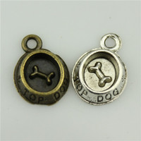 antique silver dishes - 200pcs mm vintage colors antique silver antique bronze plated zinc alloy Dog dish charms