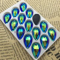 Wholesale 15cps x28mm Teardrop Sew On rhinestone Jet Black AB Color x17 Pear Shape Sewing Glass Crystal Stones Holes