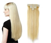 Wholesale Clip in hair extensions g piece clips human virgin straight hair Extensions b brazilian indian hair