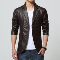 Wholesale Leather Jacket For Large Men - Fall-2015 New Arrival Men Brand Washing PU Leather Motorcycle Jackets for Male Large Size M-4XL 5XL 6XL 7XL Khaki Brown Black Color