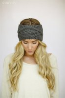 Wholesale Womens Crochet Winter Autumn Warm Knitting Headbands Hair Bands Hat Fashion wide headbands headwrap winter hair accessories Ear warmer WHA55