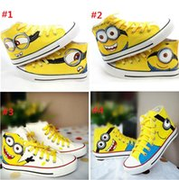 fabric painting - 4 styles Despicable Me Minions Unisex shoes boots Canvas Casual Sneakers for Women men high top Hand painted board Shoes size