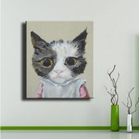 abstract cat art - 100 Handpainted Abstract Lovely Cat Oil Painting On Canvas Animal Picture Wall Art Home Decoration As Unique Gift