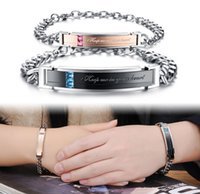 Wholesale Fashion Luxury Gemstone Beads Stainless steel Wedding Bracelets Charms Link Bangle Keep me in your heart For couple
