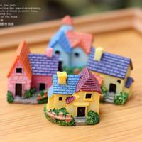 Wholesale 8pcs artificial villa house buildings fairy garden miniatures gnome moss terrarium decor resin crafts bonsai home decor for DIY Zakka
