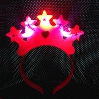 Mujeres LED luz intermitente Corona Star Party Headband Accesorios para el cabello Bodas de cumpleaños Carnaval Rave Decoración de fiesta Suministros