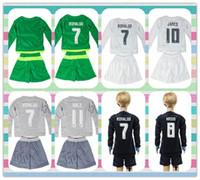 Wholesale New Product Real Madrid Uniforms Youth Kids James Bale goalkeeper Black Ronaldo Navas Long Sleeve Soccer Jersey Jerseys