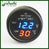 Wholesale 12V V Digital Auto Car Thermometer Car Battery Voltmeter Voltage Meter car mounted USB charger VST Blue LED