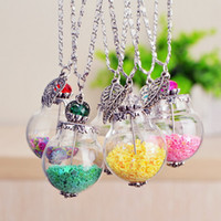 christmas ball glass - 2016 HOT DIY Glass Ball Pendant Necklace Natural Beach In A Drift Bottle Necklace Conch Starfish Ball Charm Sweater Chain Christmas Gift